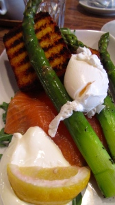 Poached Egg with Smoked Salmon, Asparagus, + Truffled Mascarpone