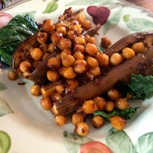 aubergine with harissa-honey chickpeas